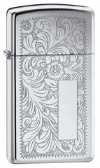 Зажигалка ZIPPO Slim® Venetian® с покрытием High Polish Chrome, латунь/сталь, 30x10x55 мм