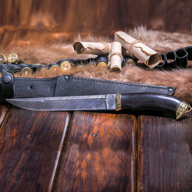 Фото 12 - Нож Пластунский, дамасская сталь, латунь от АТАКА