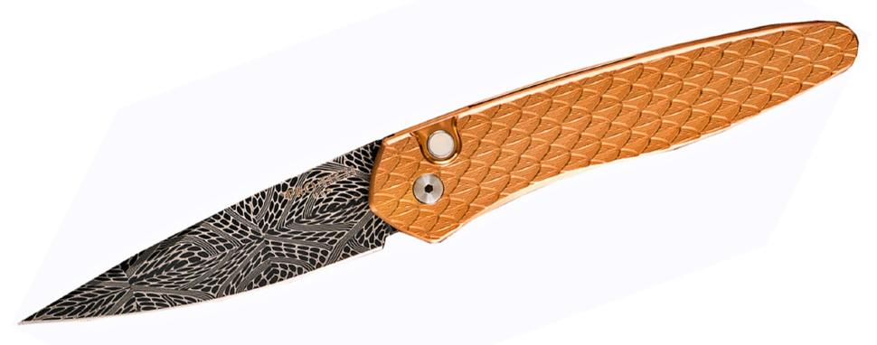 Фото 4 - Автоматический складной нож Pro-Tech Newport 3454-DAM, дамасская сталь, рукоять Сталь 416