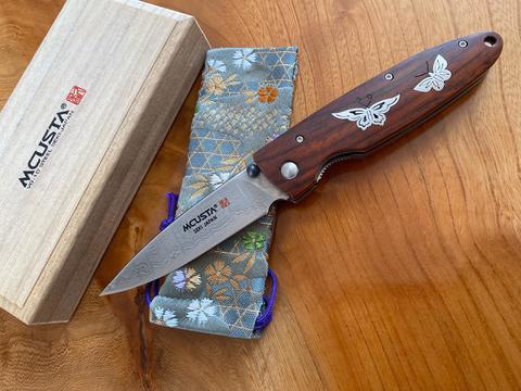 Складной нож Mcusta Бабочки LMC-01204D, дамасская сталь, рукоять кокоболо. Вид 1