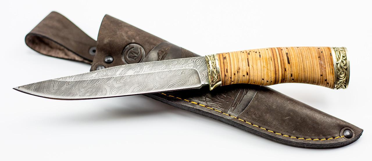 Фото 10 - Нож Анчар, сталь дамаск, рукоять береста от Кузница Семина
