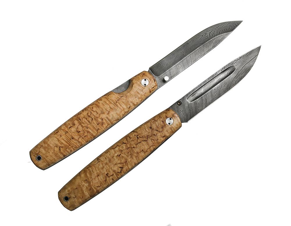 Складной нож Якут, сталь дамаск, карельская береза от Марычев