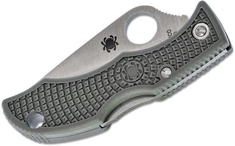Нож складной Ladybug 3 - Spyderco LFGP3, сталь VG-10 Satin Plain, рукоять термопластик FRN, (Foliage Green) зелёный. Вид 6