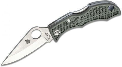 Нож складной Ladybug 3 - Spyderco LFGP3, сталь VG-10 Satin Plain, рукоять термопластик FRN, (Foliage Green) зелёный. Вид 9