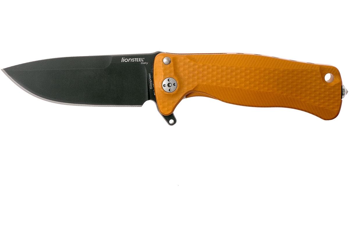 Фото 2 - Нож складной LionSteel SR22A OB Mini, сталь Uddeholm Sleipner® Black Finish, рукоять алюминий (Solid®), оранжевый от Lion Steel
