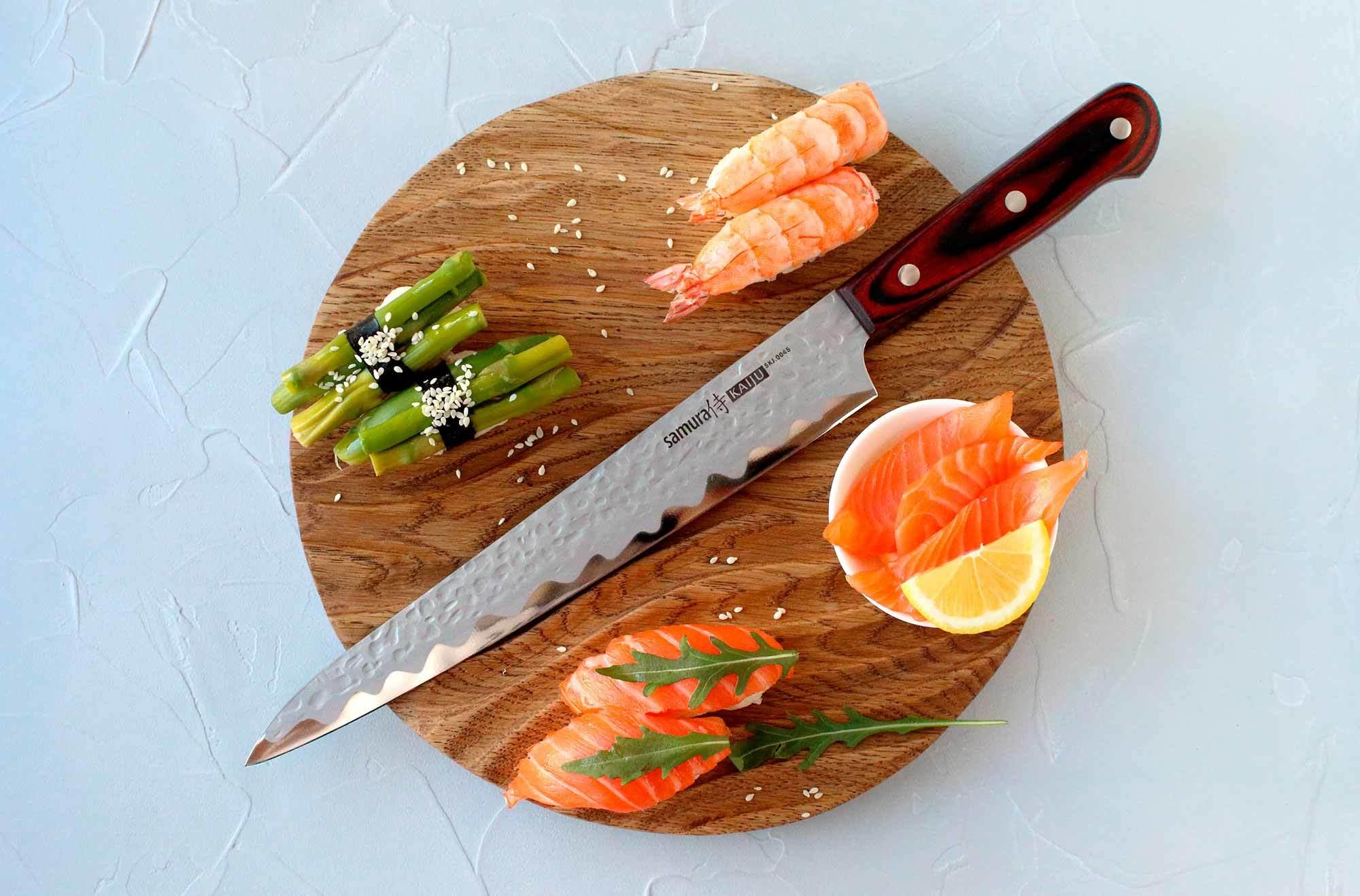 Фото 4 - Нож кухонный Samura KAIJU Янагиба - SKJ-0045, сталь AUS-8, рукоять дерево, 240 мм