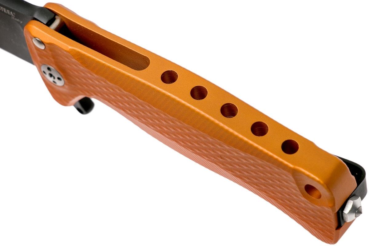 Фото 9 - Нож складной LionSteel SR22A OB Mini, сталь Uddeholm Sleipner® Black Finish, рукоять алюминий (Solid®), оранжевый от Lion Steel