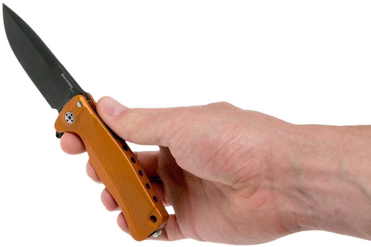 Фото 3 - Нож складной LionSteel SR22A OB Mini, сталь Uddeholm Sleipner® Black Finish, рукоять алюминий (Solid®), оранжевый от Lion Steel