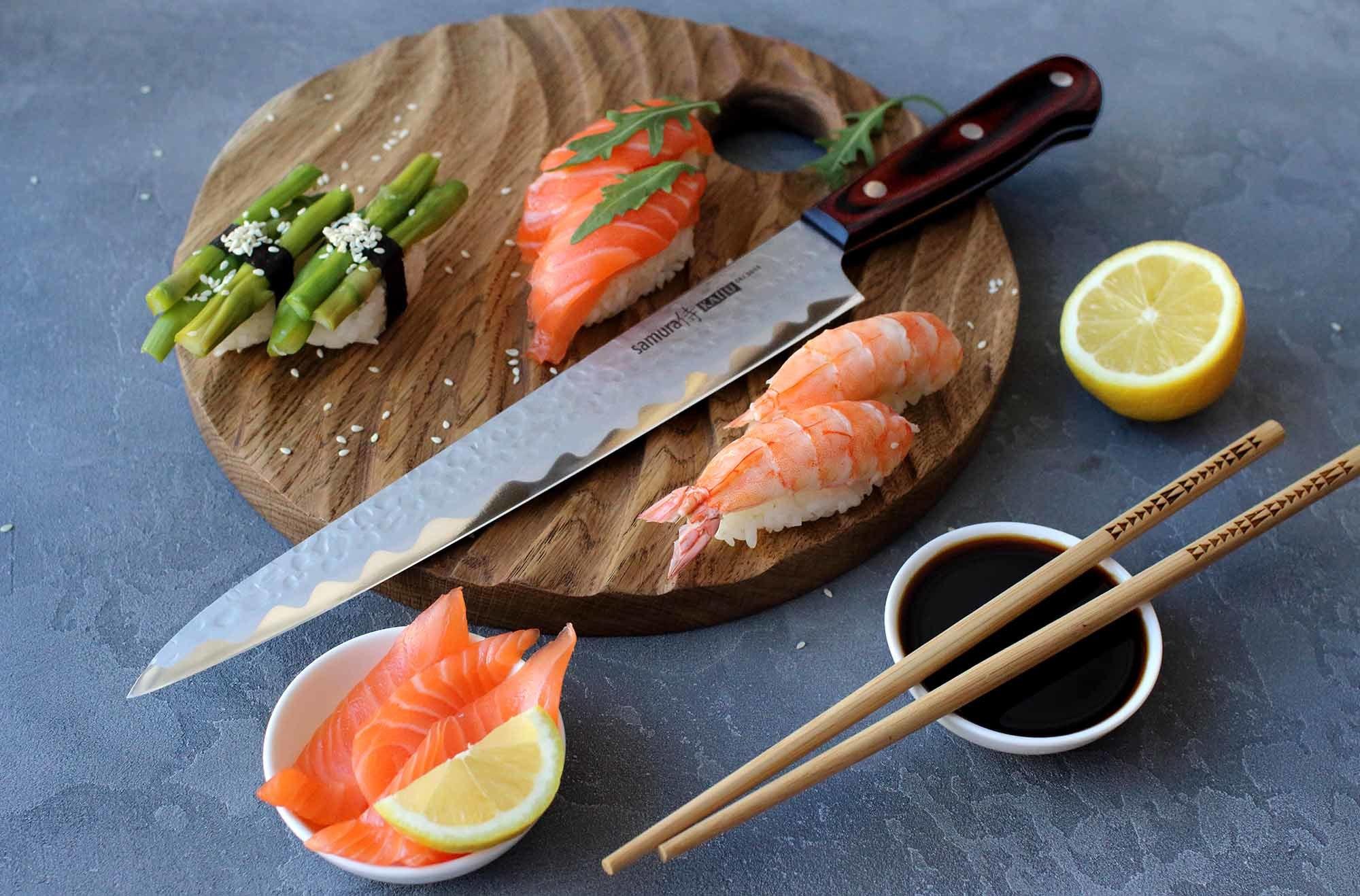Фото 6 - Нож кухонный Samura KAIJU Янагиба - SKJ-0045, сталь AUS-8, рукоять дерево, 240 мм