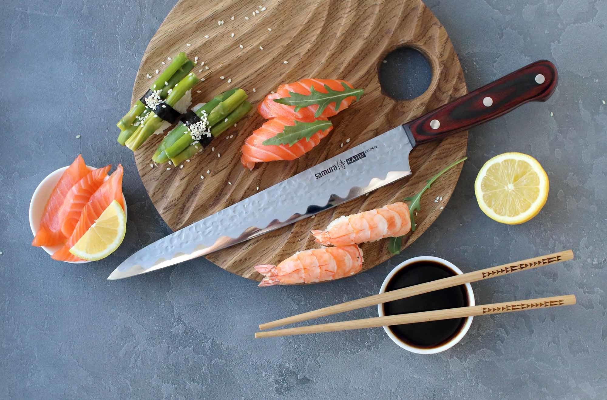 Фото 7 - Нож кухонный Samura KAIJU Янагиба - SKJ-0045, сталь AUS-8, рукоять дерево, 240 мм