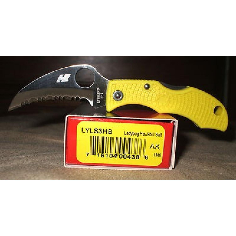 Фото 10 - Нож складной Ladybug 3 Salt - Spyderco LYLS3HB, сталь H1 Satin Serrated Hawkbill, рукоять термопластик FRN, жёлтый