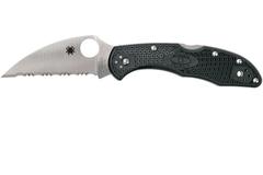 Нож складной Delica 4 Lightweight Spyderco 11FSWCBK, сталь VG-10 Satin Serrated Wharncliffe, рукоять термопластик FRN, чёрный, фото 7
