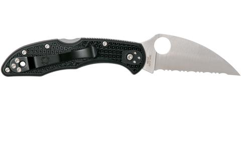 Нож складной Delica 4 Lightweight Spyderco 11FSWCBK, сталь VG-10 Satin Serrated Wharncliffe, рукоять термопластик FRN, чёрный. Вид 8