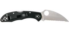 Нож складной Delica 4 Lightweight Spyderco 11FSWCBK, сталь VG-10 Satin Serrated Wharncliffe, рукоять термопластик FRN, чёрный, фото 8