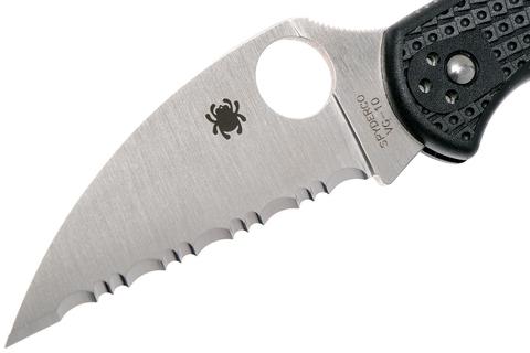Нож складной Delica 4 Lightweight Spyderco 11FSWCBK, сталь VG-10 Satin Serrated Wharncliffe, рукоять термопластик FRN, чёрный. Вид 9
