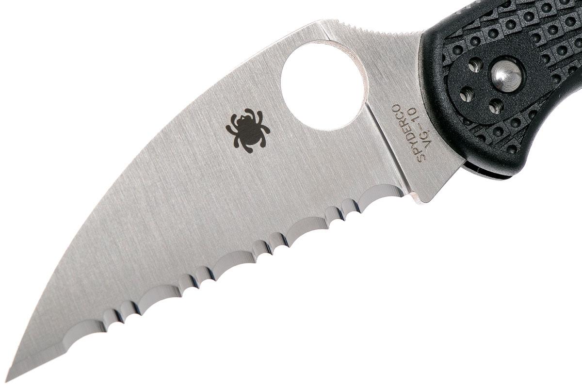 Фото 13 - Нож складной Delica 4 Lightweight Spyderco 11FSWCBK, сталь VG-10 Satin Serrated Wharncliffe, рукоять термопластик FRN, чёрный