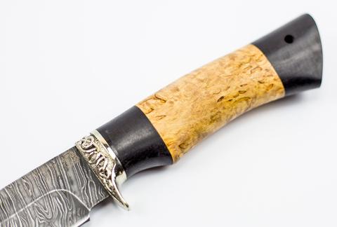 Нож Ладья, сталь дамаск, рукоять карельская береза. Вид 4