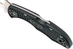 Нож складной Delica 4 Lightweight Spyderco 11FSWCBK, сталь VG-10 Satin Serrated Wharncliffe, рукоять термопластик FRN, чёрный, фото 12