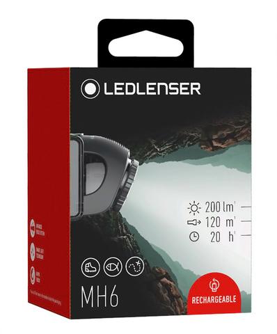 Фонарь светодиодный налобный LED Lenser MH6, черный, 200 лм, аккумулятор. Вид 8