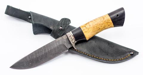 Нож Ладья, сталь дамаск, рукоять карельская береза. Вид 5