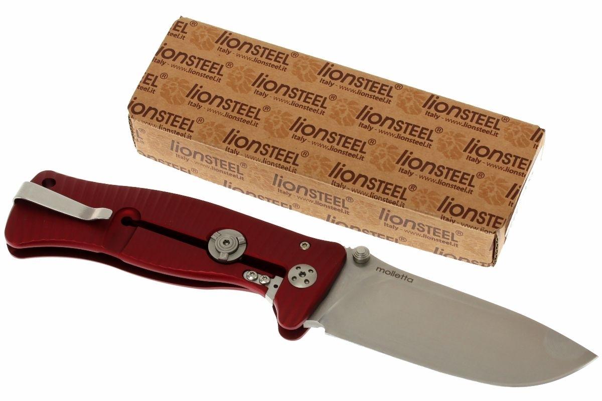 Фото 8 - Нож складной LionSteel SR1A RS RED, сталь D2 Satin Finish, рукоять алюминий (Solid®), красный от Lion Steel