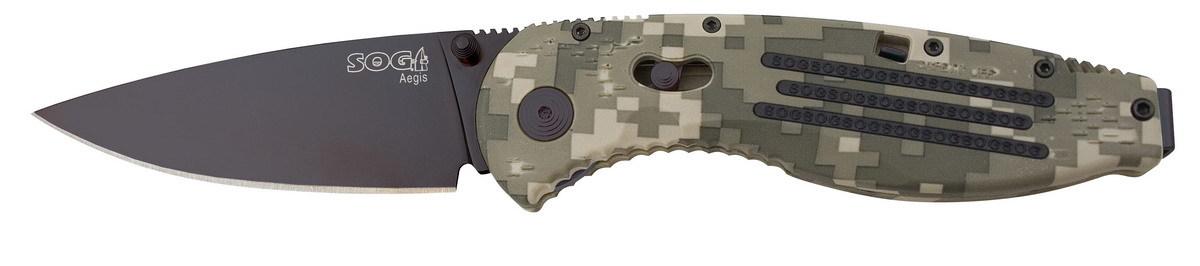 Фото 6 - Складной нож с фиксатором Aegis Digi Camo 8.9 см. - SOG AE06, сталь AUS-8, рукоять пластик GRN