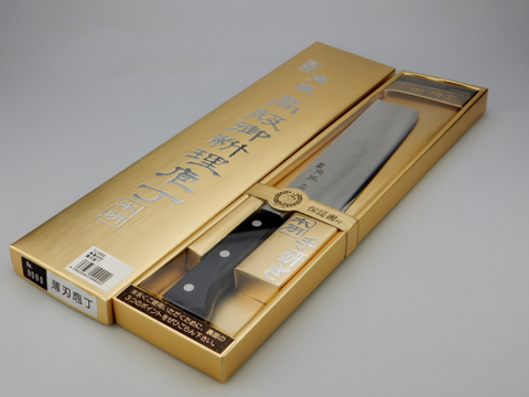 Нож кухонный Накири Shimomura, сталь DSR1K6, рукоять дерево пакка, черный. Вид 10