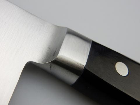 Нож кухонный Накири Shimomura, сталь DSR1K6, рукоять дерево пакка, черный. Вид 9