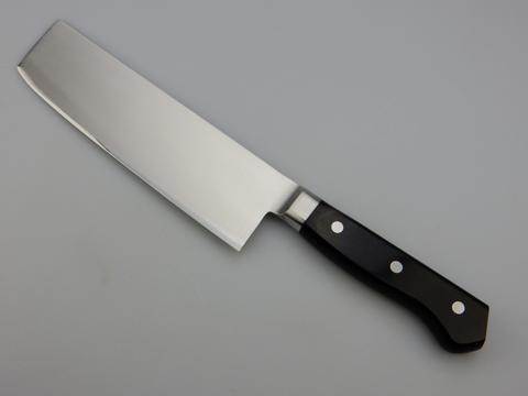 Нож кухонный Накири Shimomura, сталь DSR1K6, рукоять дерево пакка, черный. Вид 2