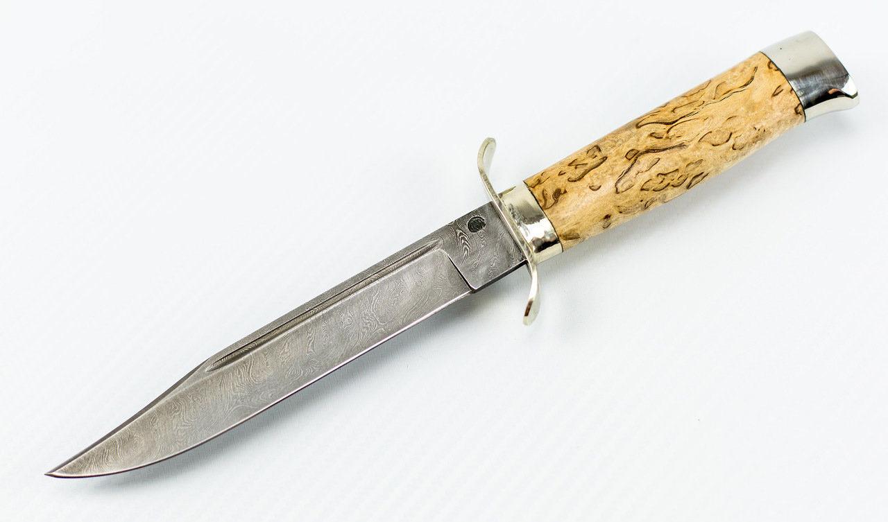 Нож Разведчика, дамасская сталь, рукоять карельская береза
