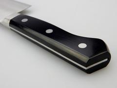 Нож кухонный Накири Shimomura, сталь DSR1K6, рукоять дерево пакка, черный, фото 4