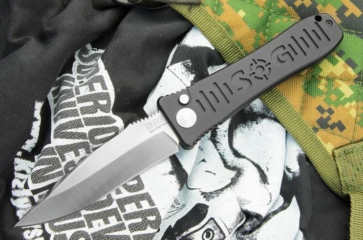 Фото 6 - Полуавтоматический складной нож SPEC ELITE I AUTO - SOG SE51, сталь AUS-8, рукоять анодир. алюминий, чёрный
