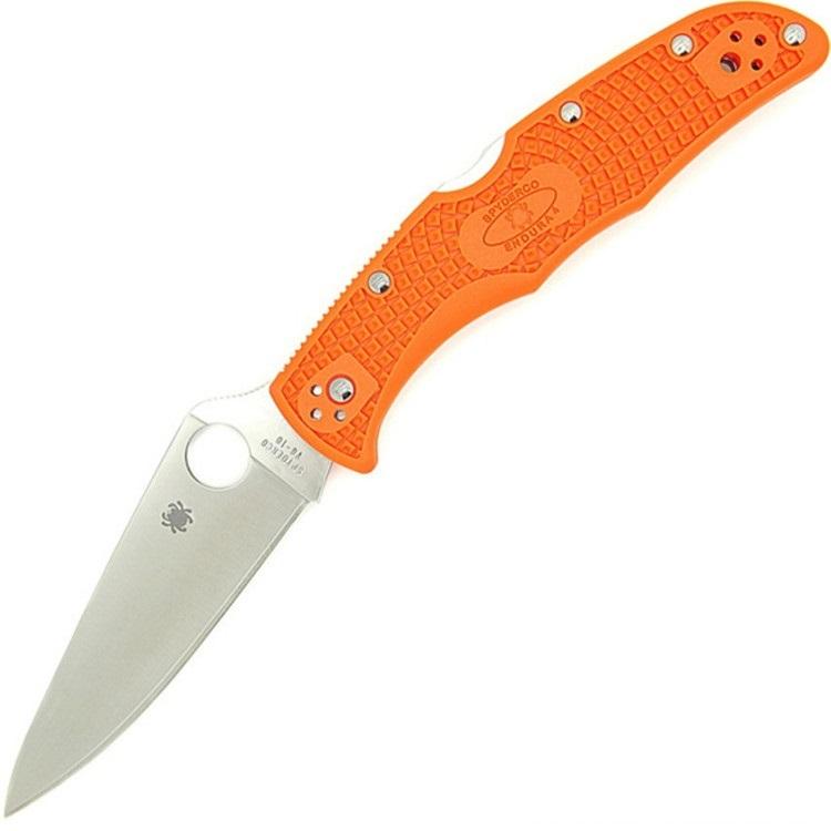Складной нож Spyderco Endura 4 Flat Ground - 10FPOR, сталь VG-10 Satin Plain, рукоять термопластик FRN, оранжевый недорого