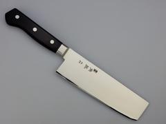 Нож кухонный Накири Shimomura, сталь DSR1K6, рукоять дерево пакка, черный, фото 5