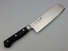 Нож кухонный Накири Shimomura, сталь DSR1K6, рукоять дерево пакка, черный, фото 3
