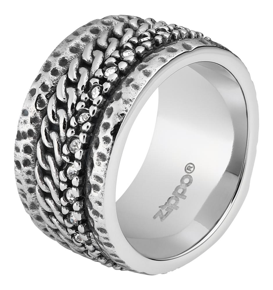 Кольцо ZIPPO, серебристое, с цепочным орнаментом, нержавеющая сталь, диаметр 21,7 мм