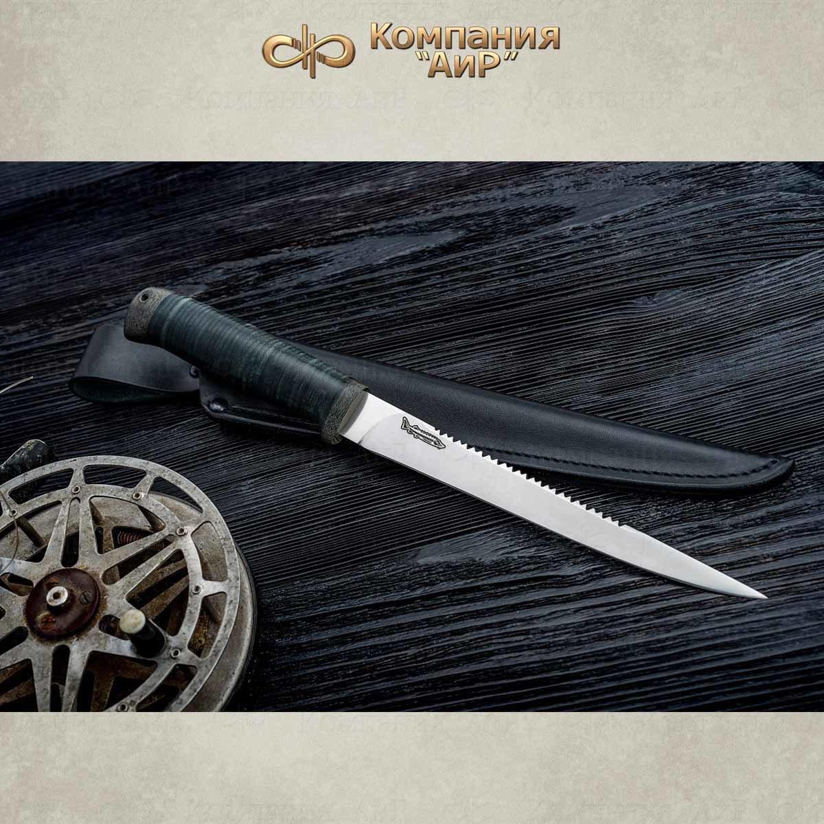 Нож разделочный АиР Белуга, сталь 100х13м, рукоять кожа нож разделочный белуга береста аир