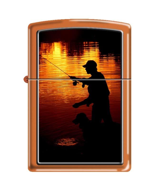 Зажигалка ZIPPO Ночная рыбалка, латунь/сталь с покрытием Orange Matte, оранжевая, 36x12x56 мм путешествие рыбалка 2016