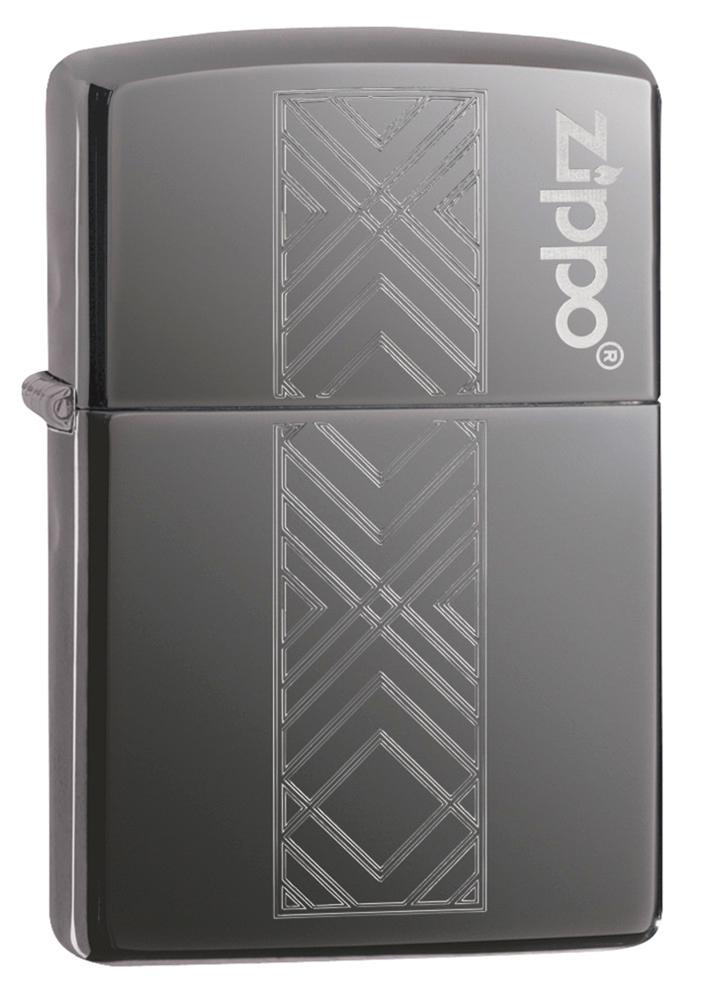 Зажигалка ZIPPO Geometric Pattern Logo с покрытием Black Ice®, латунь/сталь, чёрная, глянцевая, 36х12х56 мм